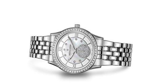 "Timothy Stone Women's H-013-ALSL ""Huston Silver Watch - Swarovski Crystal Embellished Bezel Quartz Movement Mother of Pearl Dial (Swarovski Crystal Womens Automatic)"