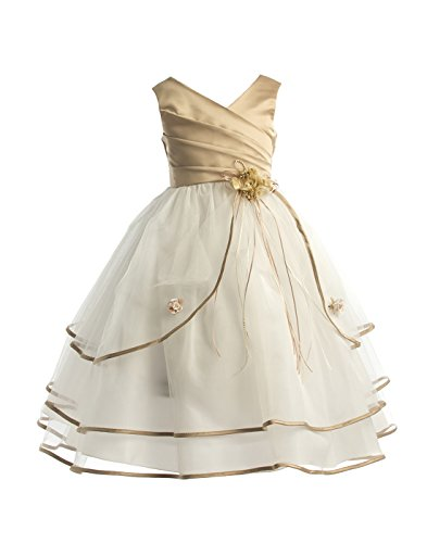 Joy Kids Big Girls Pleated Satin Special Occasion Flower Girl Dress 8 Taupe -