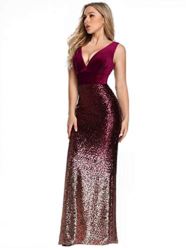 Ever-Pretty Women Long Velvet and Sequin Mermaid Prom Dresses 16US Burgundy