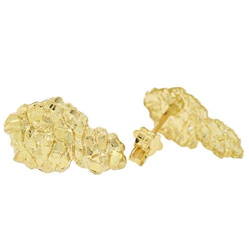 Men's 10k Yellow Gold Diamond-Cut Nugget Style Stud Earrings
