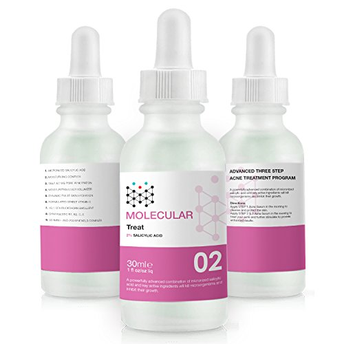 MOLECULAR Acne Treatment Kit 30DAY Acne Clearing Serum Set, 3-Step Program Highly Dosed Salicylic Acid Content Ratio with Powerful Herbal Extracts & Vitamin C + Hyaluronic Acid, Acne Serum Blend