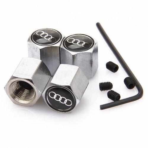 D&R® Anti-theft Wheel Tire Valve Stem Caps For Audi Black