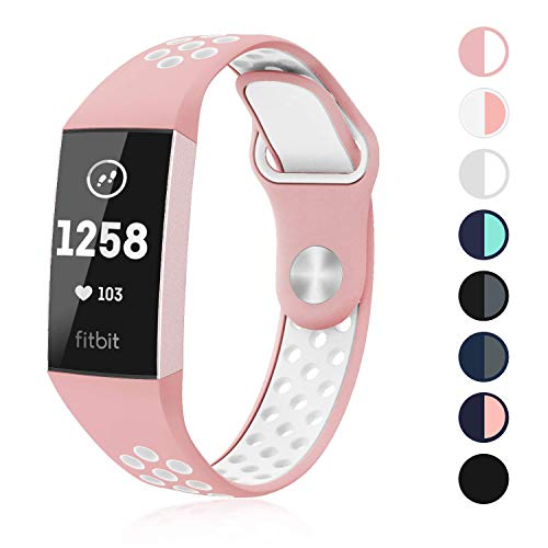 SWEES Silicone Sport Bands Compatible Fitbit Charge 3 & Charge 3 SE, Soft Breathable Sport Strap with Air Holes Replacement Wristband for Women Men Small & Large, Black, Grey, Navy Blue, Pink, Teal