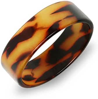 Bling Jewelry Brown Acrylic Tortoise Shell Thick Wide Band Ring
