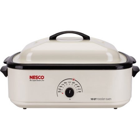 (Nesco 22-Pound White Turkey Roaster Oven with Handles for Safe, Easy Insertion and Removal of Hot Foods)