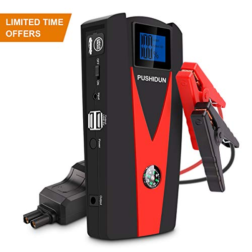 Car Jump Starter, PUSHIDUN 12V 800A 15000mAh Peak (Up to 5.0L Gas or 4.0L Diesel Engine) Portable Auto Battery Booster,Dual USB Power Bank Battery, Smart Jumper Cables,Built-in LED Light & Compass
