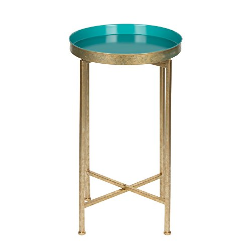 Kate and Laurel Celia Round Metal Foldable Tray Accent Table, Teal and Gold (Modern Round Side Table)