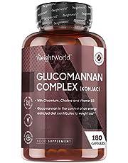 Glucomannan Konjac 3000 mg Complex - Natuurlijk glucomannan vezel supplement met chroom en vitamine D3-180 capsules - Vegetarisch, glutenvrij en niet-GMO - Gemaakt in EU