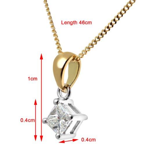 Revoni Bague en or jaune 18carats Solitaire diamant collier pendentif,-Diamant 0.25Cts