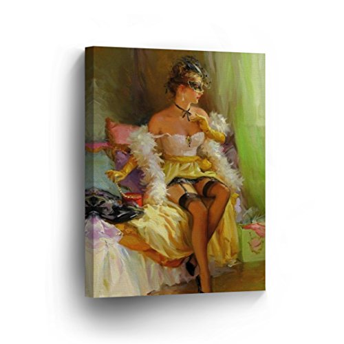 Sexy Vintage Lady in Lingerie with Mask Pretty Half Naked Nude Woman Girl Oil Painting CANVAS PRINT Decorative Art Wall Home Decor Artwork / Wrapped Stretched/Ready to Hang -%100 Handmade - Vintage Nude Ladies