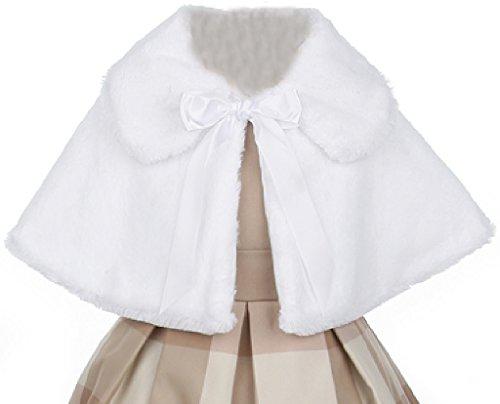 (Little Girls Faux Fur Satin Tie Flower Girl Bolero Jacket Cover Cape White 4 (SC1K2))