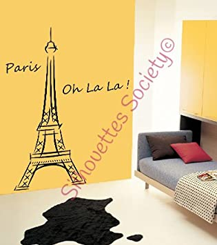 Eiffel Tower Ooh La La Paris 6ft Tall Vinyl Wall Decal Sticker Home