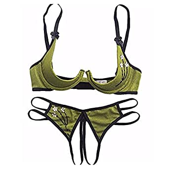 paloli 2 Piece Sexy Lingerie Set for Women Bra and Panty Set Babydoll-Open Thong Army Green