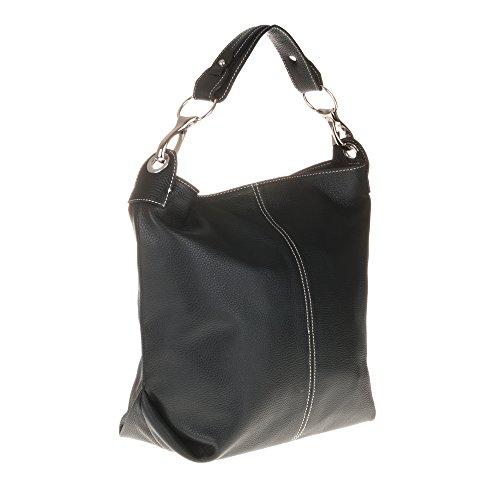 FIRENZE ARTEGIANI.Bolso shopping bag de mujer piel auténtica.Bolso shopping Bag mujer de cuero genuino Dollaro MADE IN ITALY. VERA PELLE ITALIANA. 40x37x13,5 cm. Color: MARRON OSCURO NEGRO
