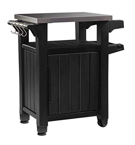 Keter Unity Indoor Outdoor BBQ Entertainment Storage Table / Prep Station with Metal Top (With Cart Bar Storage)
