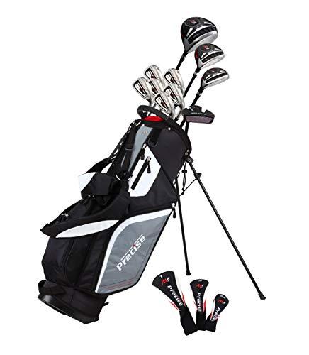 (Top Line Men's  Right Handed M5 Golf Club Set ,  Set Includes Driver, Wood, Hybrid, 5, 6, 7, 8, 9, PW Stainless Steel Irons with True Temper Steel Shaft, Putter, Deluxe Stand Bag & 3 Headcovers)