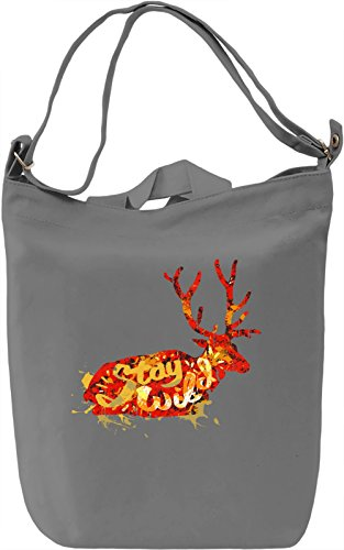 Stay Wild Borsa Giornaliera Canvas Canvas Day Bag| 100% Premium Cotton Canvas| DTG Printing|