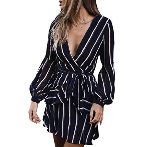 REYO Women's Sexy V Neck Dresses Fashion Long Sleeve Casual Striped Ruffle Mini Dress