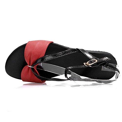 COOLCEPT Mujer Moda Ankle Strap Sandalias Punta Abierta Slingback Planos Zapatos Rojo