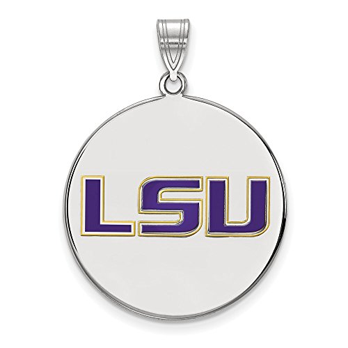 Jewelry Stores Network Louisiana State LSU Tigers Purple School Letters Disc Pendant in Sterling Silver XL - (26 mm x 25 mm)