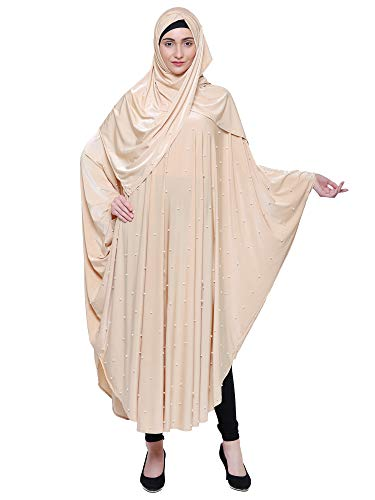 ZUZUU Women's Crystal Lycra Butterfly Style Chadri Abaya Burqa Stone Work Abaya Burqa with Hijab, Dupatta and Mouthpeice (Light Yellow, Free Size)