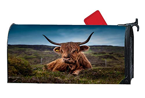 - Decorative Magnetic Mailbox Cover, Custom Mailbox Wrap with Animals Design for Standard Mailboxes, 6.5 x 19 Inches - Scotland Highland Beef Cow