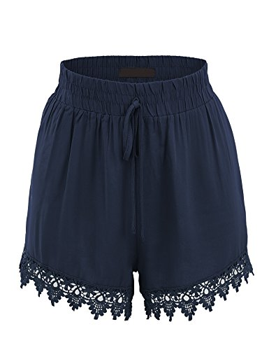 Made By Johnny WB1764 Womens Woven Elastic Waistband Shorts with Crochet Trim M (Lace Woven Shorts)