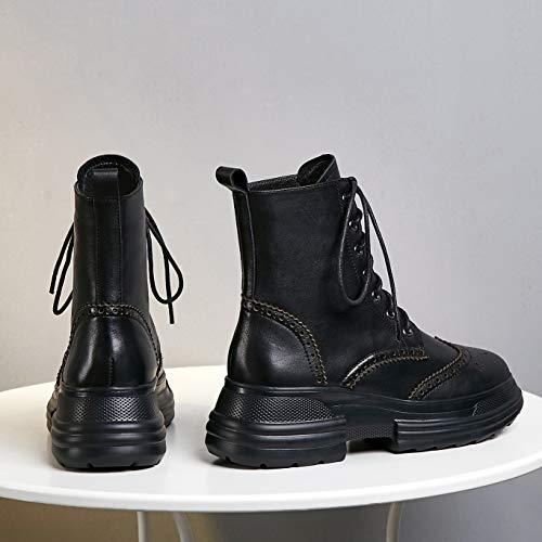 2ca97e1fbec5b Zapatos Vestir Negro Mujer Annieshoe Tacon Plataforma Botas Cuero Invierno  Botines De Brogue Cordones Otoño vwaOqw