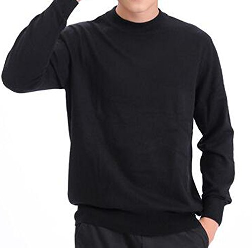 METERDE Men's Cashmere Winter Knit Jumper Basic Pullover Sweater Black L by Cashmere DX