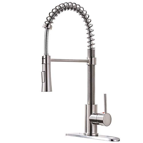 Lead Free Stainless Steel Single Lever Handle Pull Down Sprayer Brushed Nickel Kitchen Faucet, Kitchen Sink Faucet With Deck Plate