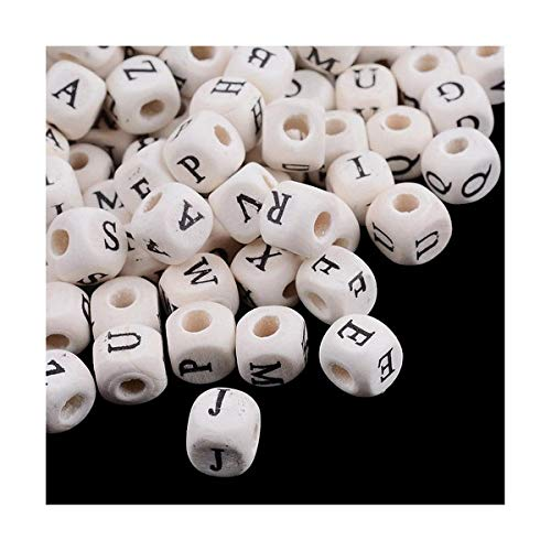 Packet 60+ Cream/Black Wood 8 x 8mm Alphabet Cube Beads Y12140 (Charming - Alphabet Cream