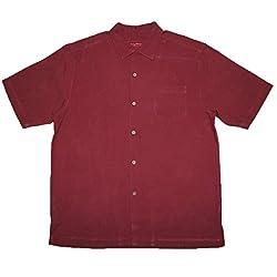 Tommy Bahama Tequila Mocking Parrot Mens Light Weight Silk, Summer Camp Shirt M Dark Red
