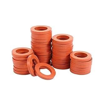 "ZKZX Garden Hose Washer Heavy Duty Rubber Washer, Fit All Standard 3/4"" Garden Hose Fittings (40 Pieces)(red)"