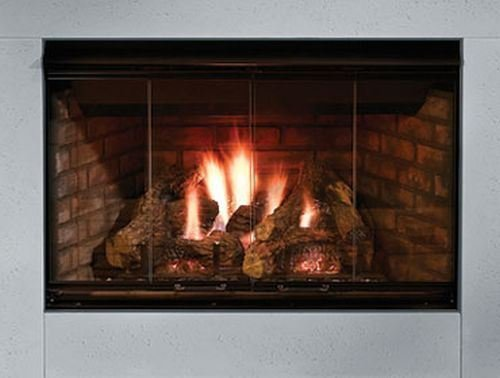 (Outdoor Lifestyles Reveal 36 B-Vent Gas Fireplace with Traditional Brick Refractory Liner )