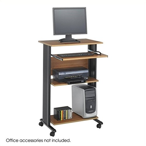 Safco Products 1923MO Muv 45''H Stand-Up Desk Fixed Height Computer Workstation with Keyboard Shelf, Medium Oak by Safco Products