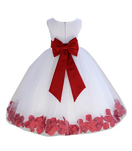 Wedding Pageant Flower Petals Girl White Dress with Bow Tie Sash 302a 10