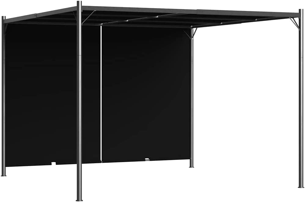 4x4m Garden Gazebo Tent Outdoor Metal Adjustable Sunshade w// Zippered Net