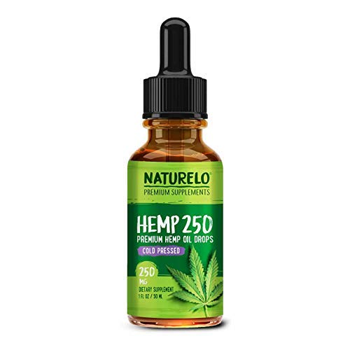 NATURELO Premium Hemp Oil Drops – Best Natural Supplement for Pain Relief, Sleep Support, Anti Stress, Anxiety & Inflammation - Cold Pressed - Pure & Organic - Full Spectrum Hemp Extract – 250 mg