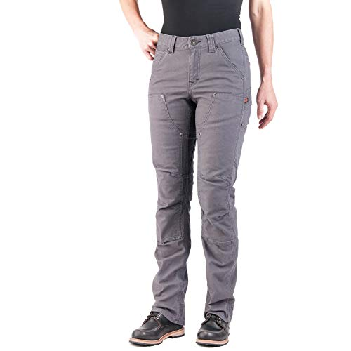Dovetail Workwear Pants for Women: Britt Utility Straight Fit Stretch Carpenter Pant, Dark Grey Canvas, Size 12, 32