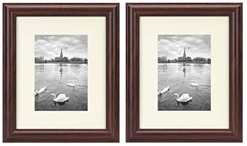 Set of 2, 8x10 Picture Frame - Fit 5x7 Photos with Ivory Color Mat - Curved Bevel Molding - Wall and Table Collage Frames - Real Glass - Color: Walnut ()