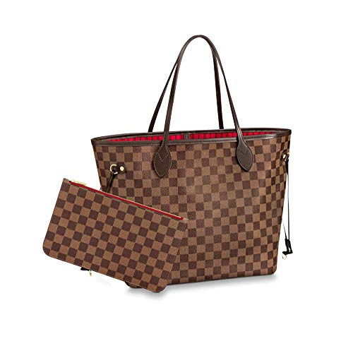 Women's Classic Canvas Neverfull Top-Handle Tote Bag Large Capacity Haute Couture Shoulder Bag (GM 40CM, Damier Ebene Inside Red)