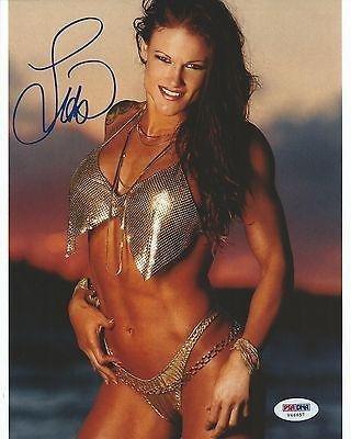 Lita Amy Dumas Signed WWE 8x10 Photo COA Picture Autograph Diva Bikini 1 - PSA/DNA Certified - Autographed Wrestling Photos