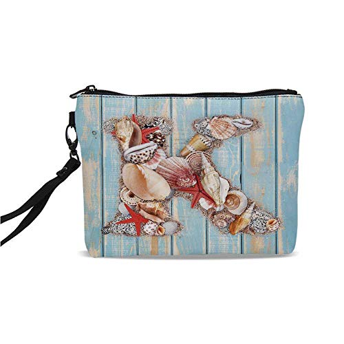 "Letter K Simple Cosmetic Bag,Letter K Invertebrates Seashells Starfishes Summer Inspired Print Decorative for Women,9""L x 1.5""W x 6.2""H"