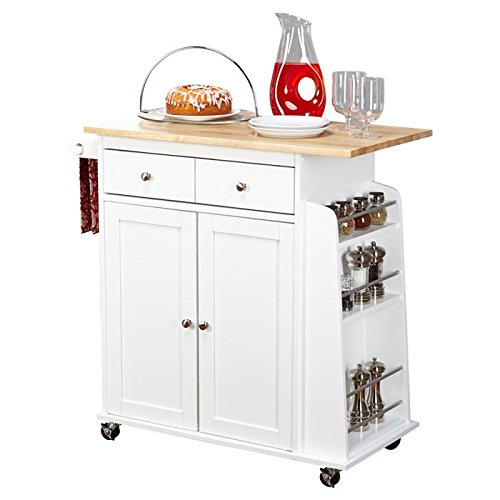 """Ferraro Kitchen Cart with Wooden Top and 2 Door Storage Cabinet with an Adjustable Shelf Made w/ Manufactured Wood in White Finish 34.5"""" H x 35.5"""" W x 17.6"""" D in."""