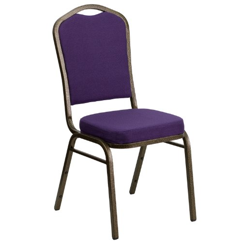 Flash Furniture HERCULES Series Crown Back Stacking Banquet Chair in Purple Fabric - Gold Vein - Wholesale Chairs Church