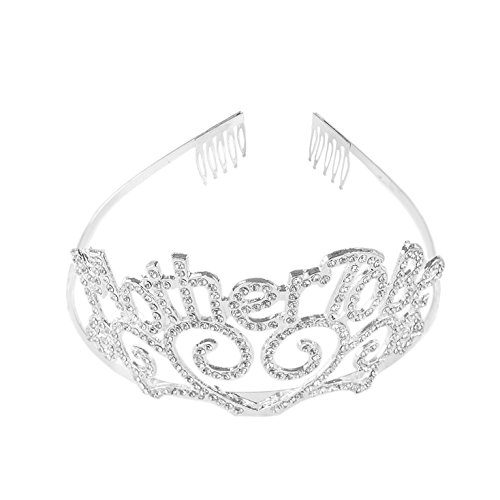 Super Z Outlet Metal Mother To Be Silver Tiara Hearts Crown with Sparkling Rhinestones for Baby Shower Accessory -