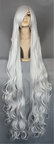 JYWIGS 150CM Super Long Curly Wig for Women Cosplay Party Costume Hair Silver White (Silver) ()