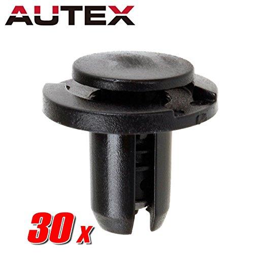 AUTEX 30pcs Fender Liner Fastener Rivet Push Clips Retainer Nut Replacement for Honda Accord 2011-2012, Civic 2003-2015, Element 2003-2008, Pilot 2006-2008, Replacement for Acura TL 2003-2014