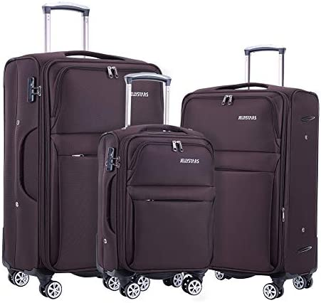 JELLYSTARS 3-Piece Spinner Suitcases with 4 Mute Double-Wheels Buit-In TSA Lock Softside Travel Luggage Sets for Men Women Carry On 20 inch 24 inch 28 inch Coffee Color