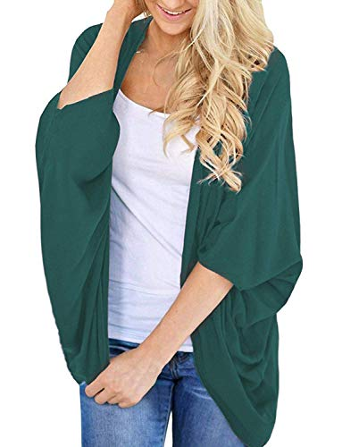 - BB&KK Knit Cardigan Sweaters for Women Solid Colors Half Sleeve Open Front Cover Ups Green Large